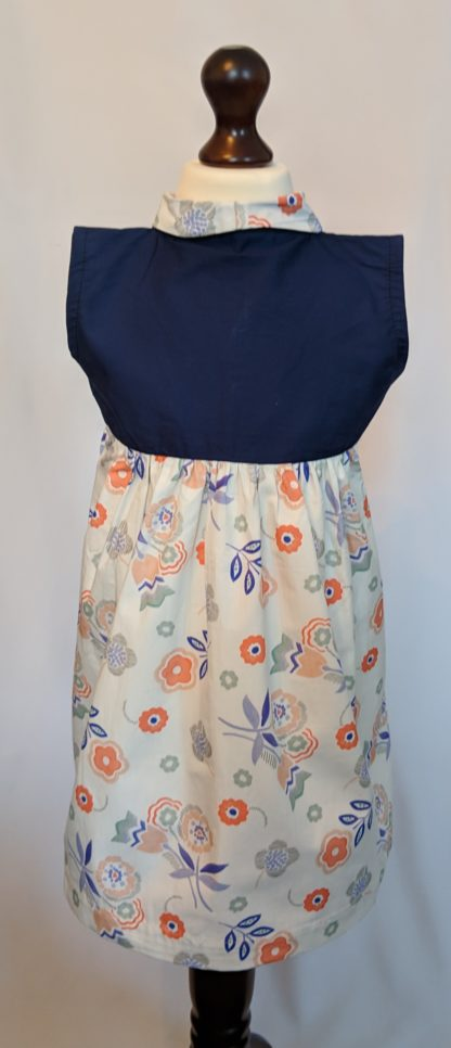 White and blue retro flower print dress