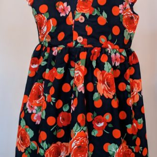 Blue and red rose polka dot dress