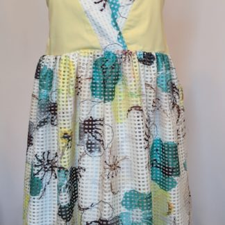 Yellow, blue and white delphinium dress