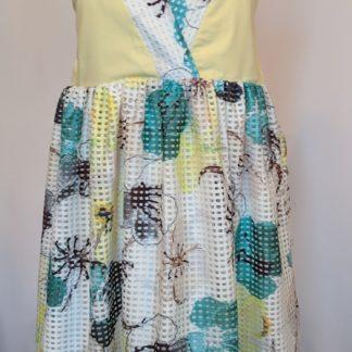 Yellow, blue and white delphinium dress