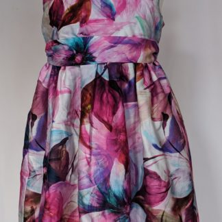 Purple gladiolus floral print dress