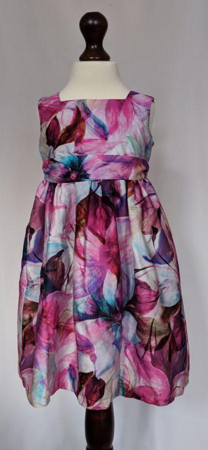 Purple gladiolus floral print dress