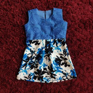 Blue net tropical dress
