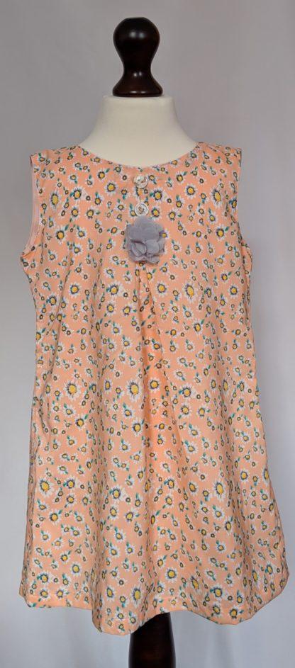 Peach and white daisy dress