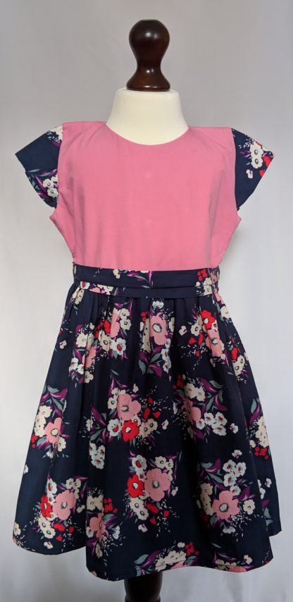 Midnight blue and pink floral dress