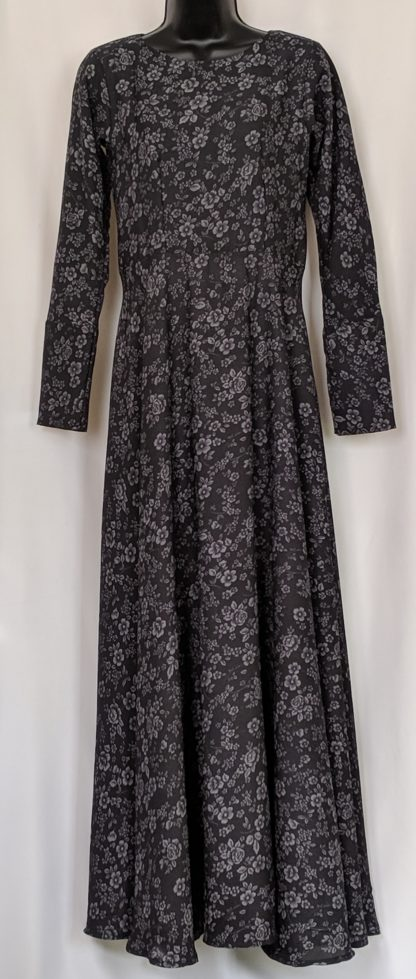 Black floral abaya dress