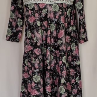 Green and pink floral abaya dress
