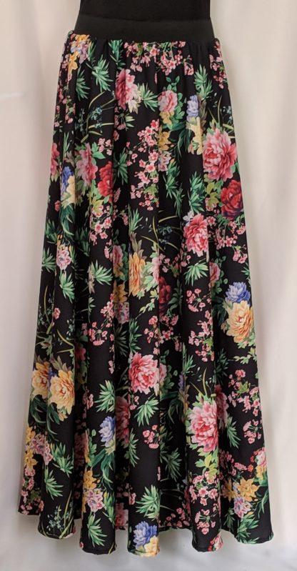 Black wild flower skirt