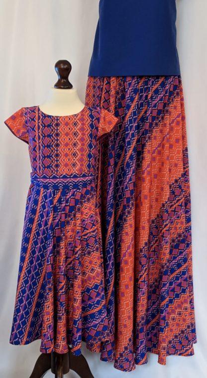 Tribal print dress and maxi skirt