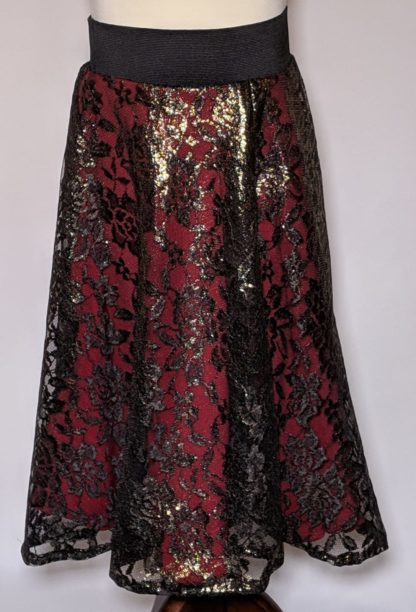 Black and red lace skirt