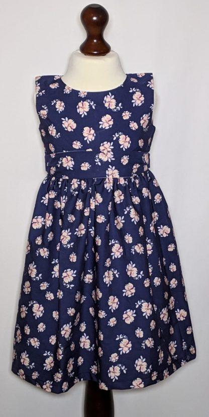 Pink floral navy dress