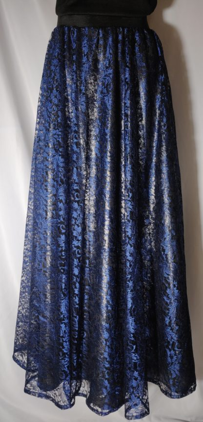 Navy blue lace maxi skirt
