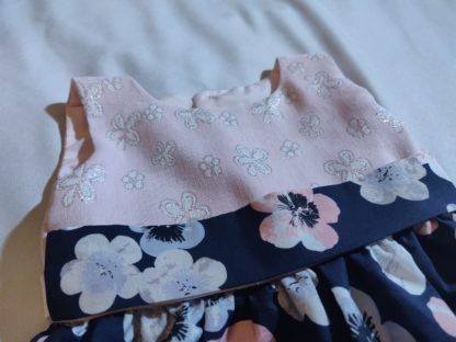 Hibiscus floral navy and pink dress (baby)