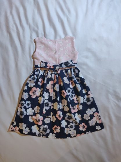 Hibiscus floral navy and pink dress