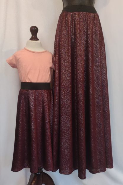 Maroon sparkle skirt set