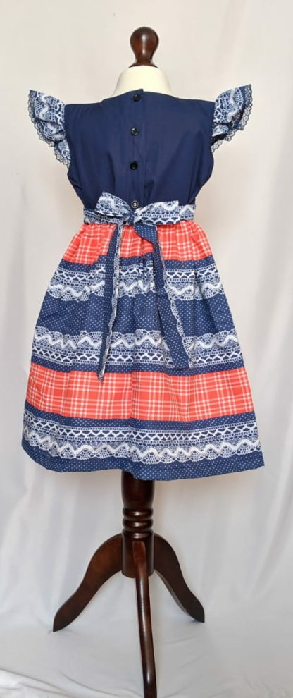 Blue polka and Pink checked dress