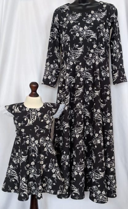 Adult and Mini me black and white dress