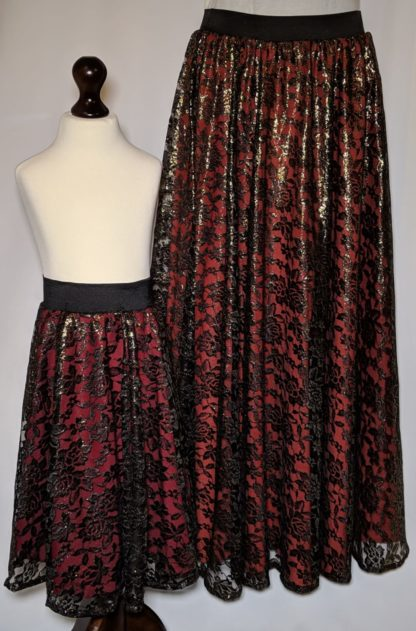 Black and red lace maxi skirts