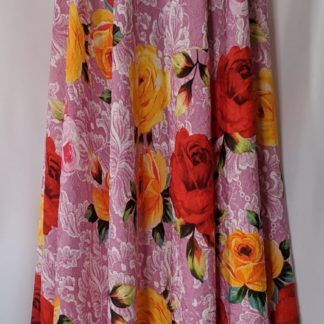 Crinkle rose print skirt