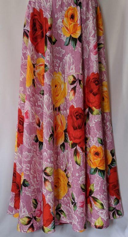 Crinkle rose print skirt
