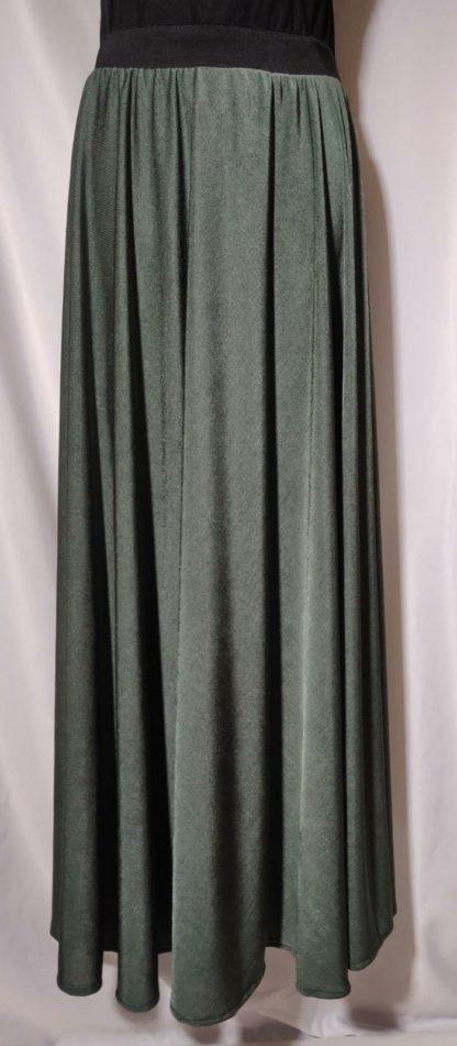 Khaki green shimmer maxi skirt