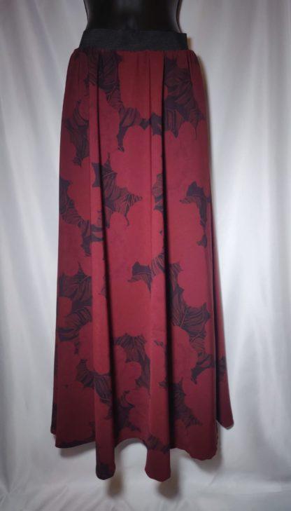 Maroon leafed maxi skirt
