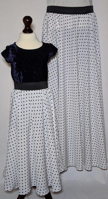 White Polka maxi skirts