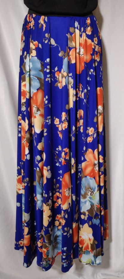 Royal blue floral maxi skirt