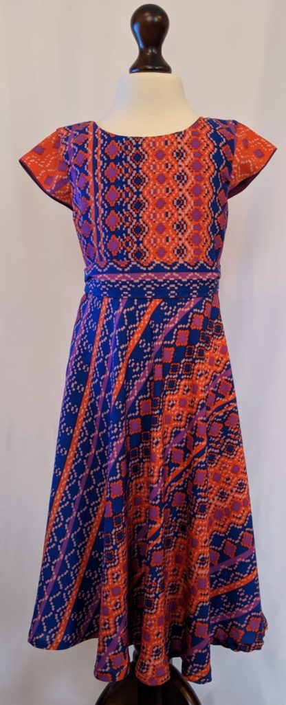 Blue and orange tribal print dress