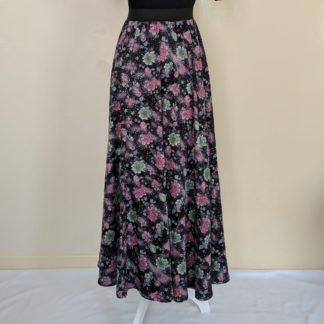 Hibiscus black floral maxi skirt