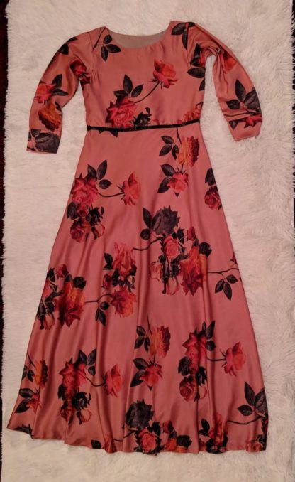 Pink large floral dress