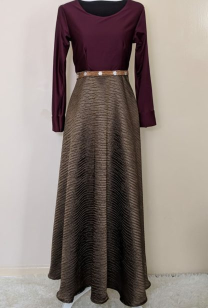 Deep gold plum maxi dress