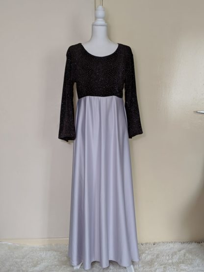 Glitzy black with silver sheen maxi dress
