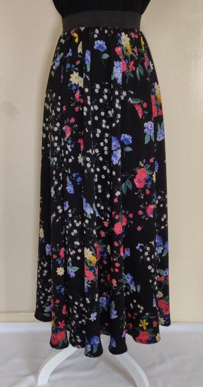 Black wild flower maxi skirt
