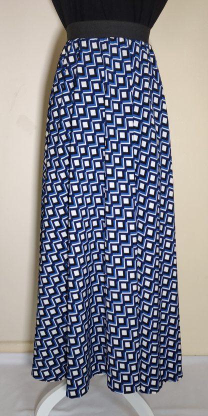 Blue squares maxi skirt