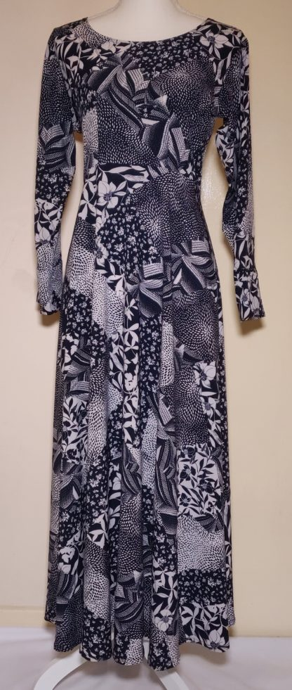 Black and white patchwork maxi dress