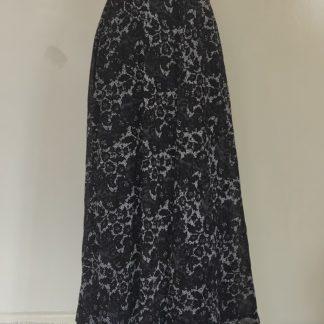 Black large floral maxi skirt