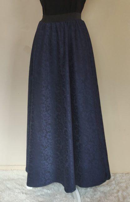 Faux brocade navy maxi skirt