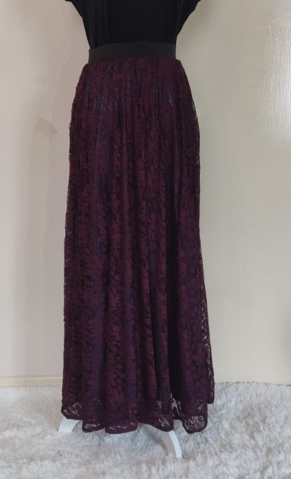 Plum lace maxi skirt
