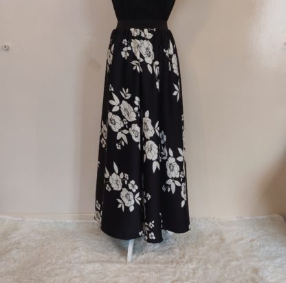 Black and white floral skirt