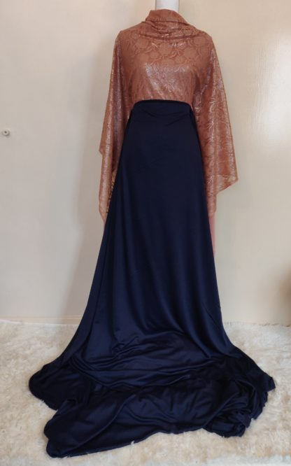 Gold lace and navy skirt maxi dress