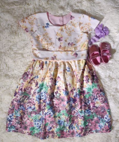 Multicoloured pastel floral dress