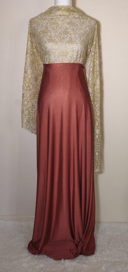 Gold lace terracotta maxi dress