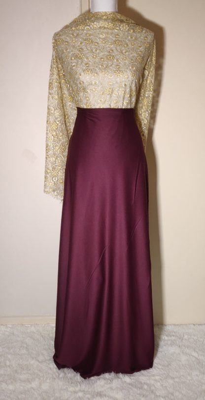 Gold lace with plum maxi dress