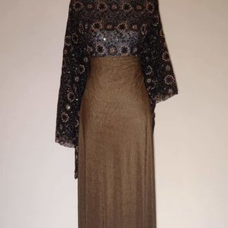 Bronze paisley lace with plum maxi dress