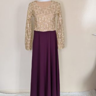Gold lace and sparkle navy maxi dress