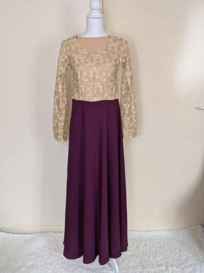 Gold lace with purple skirt