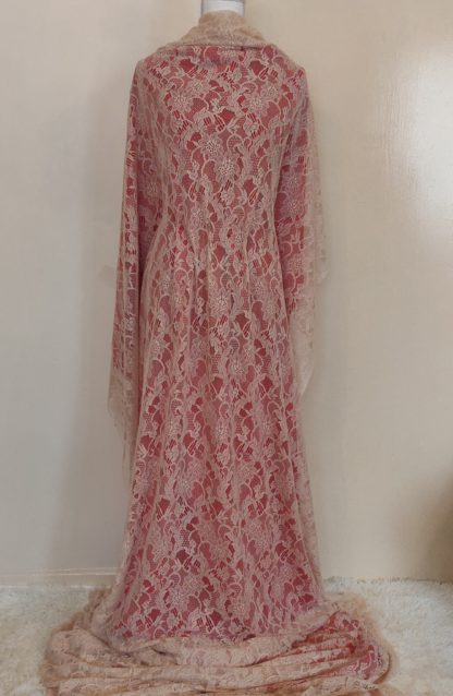 Cream and red lace maxi skirt set