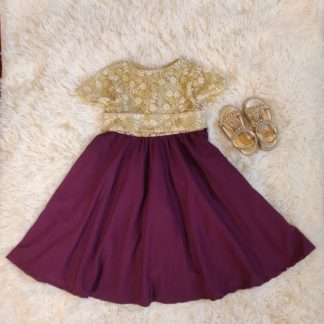 Gold lace with plum skirt dress
