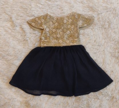 Gold lace and navy dress